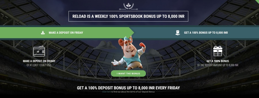 22bet india special friday weekly offers where you can get a reload bonus - Betting in India